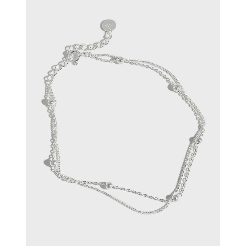 Simple Geometric Spacer Round Bead Double Layer Link Chain 925 Sterling Silver Anklet S925 Silver Rosary Curb Chain Foot Jewelry