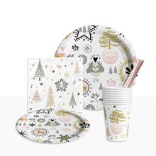 Happy  New Year  Merry Christmas Disposable tableware set party supplies paper sets