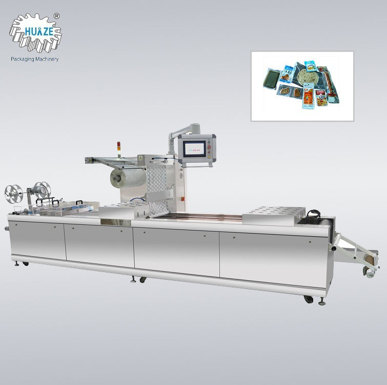 Automatic thermoforming continuous stretch film vacuum packaging machine