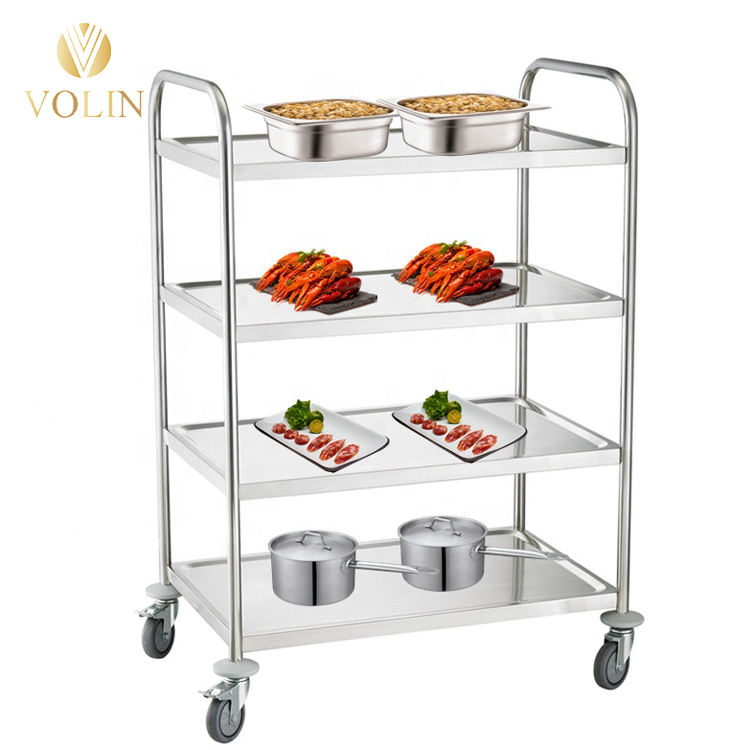 Hot Sales 3 Tier Stainless Steel Multipurpose Storage Shelf Hotel Kitchen Service Trolley