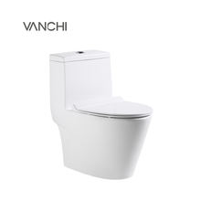 Water saving one piece toilets with flushing system