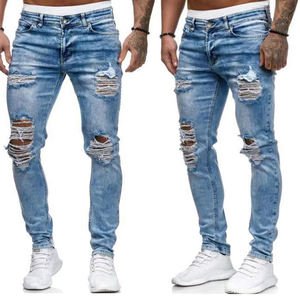 Men's new blue ripped casual straight-leg jeans for men