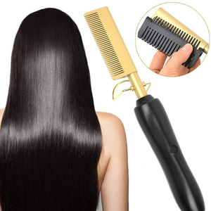 2020 New High Heat Ceramic Press Comb Hair Straightener Pressing Electric Hot air Comb