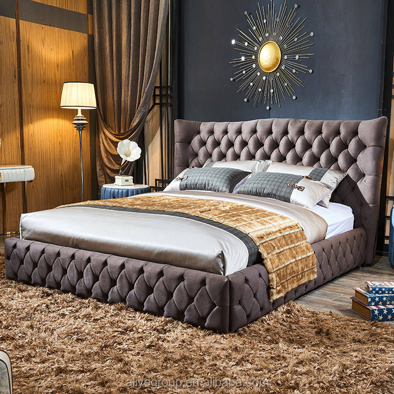 Modern American style brown color cow leather velvet fabric bed wooden frame bed frame double/king for bedroom