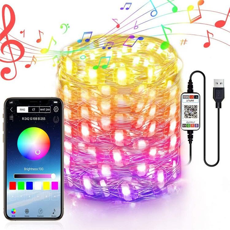 Smart Holiday LED String Lights Waterproof Silver Wire Fairy RGB Colorful Bluetooth APP control Christmas Tree Decoration Lights