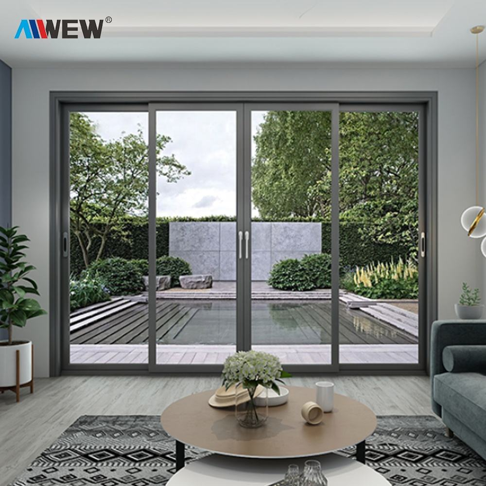 Alwew doppi vetri in alluminio prezzo fisarmonica porte a soffietto Cina di alluminio bi fold balcone scorrevole patio porta di vetro