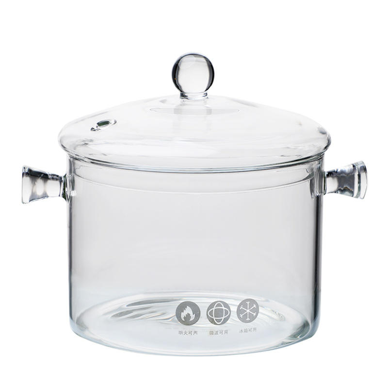 Borosilicate Large size transparent clear pyrex glass cooking pot