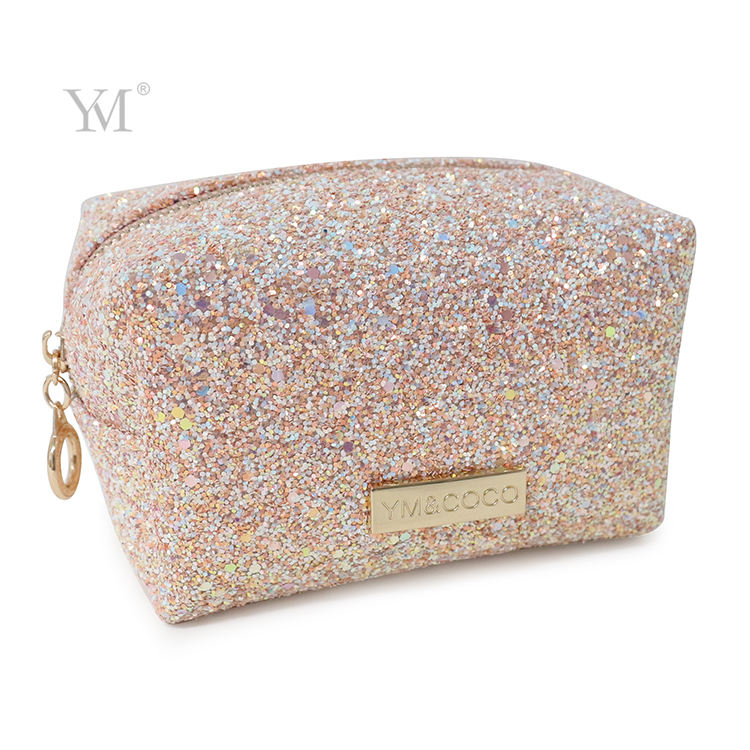 2020 glitter cosmetic bag with logo leather pvc custom make up pouch bag
