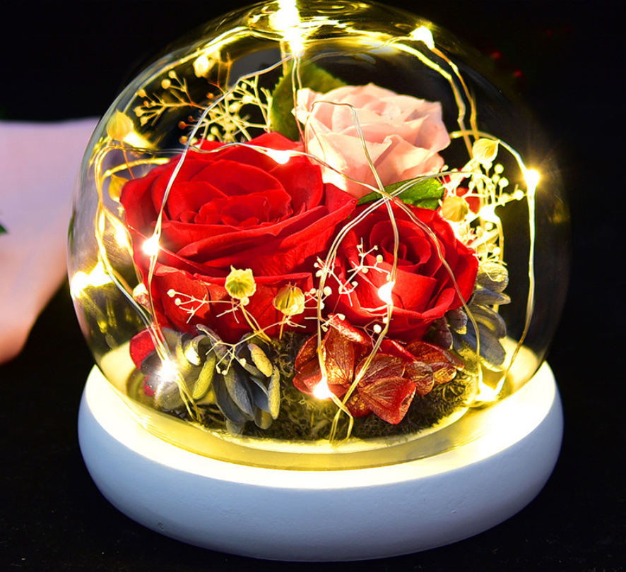 BLH Amazon hot wholesale Preserved Rose in Glass Dome Crystal Ball Birthday Mothers' Day Christmas Valentine's Day Gift