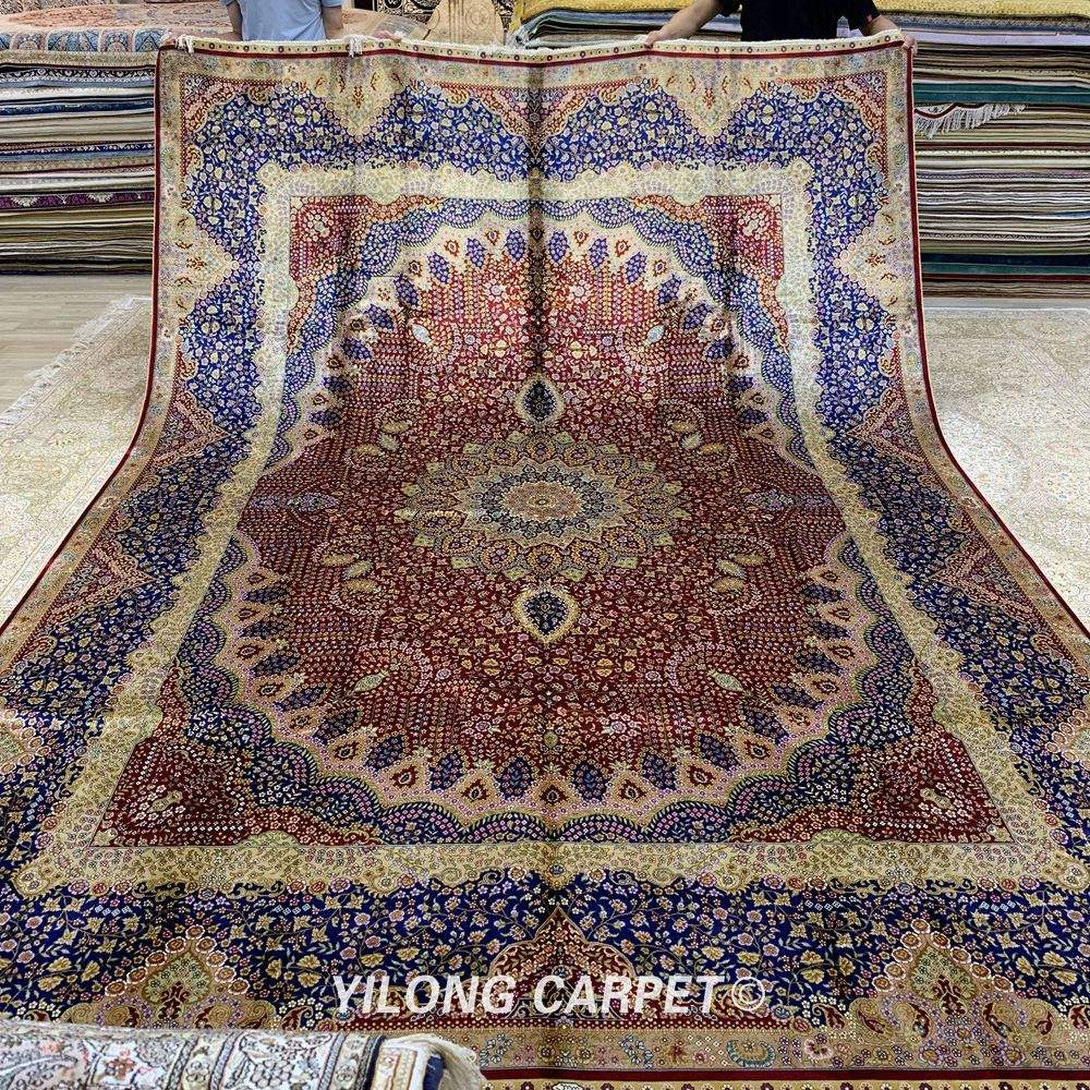 YILONG 9.2'x12.8' Handmade Rugs Classic Persian Floral Medallion Hand Knotted Home Persian Carpet