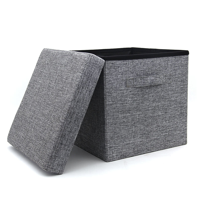 Customized low price modern polyester linen stool folding small seat cute storage ottoman with handle for sitting room