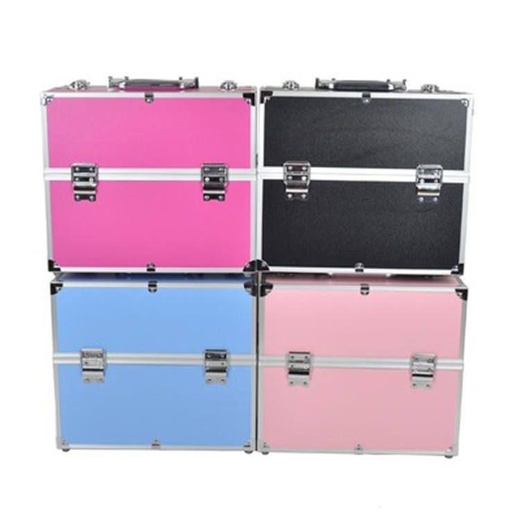 High quality hair stylist aluminum professional cosmetics beauty rolling trolley makeup train artist case