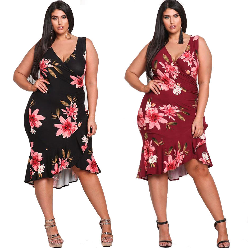 Custom Plus Size Women Floral Print Dress Maxi Clothes Ethnic Style Big Size V Neck Dresses for Party