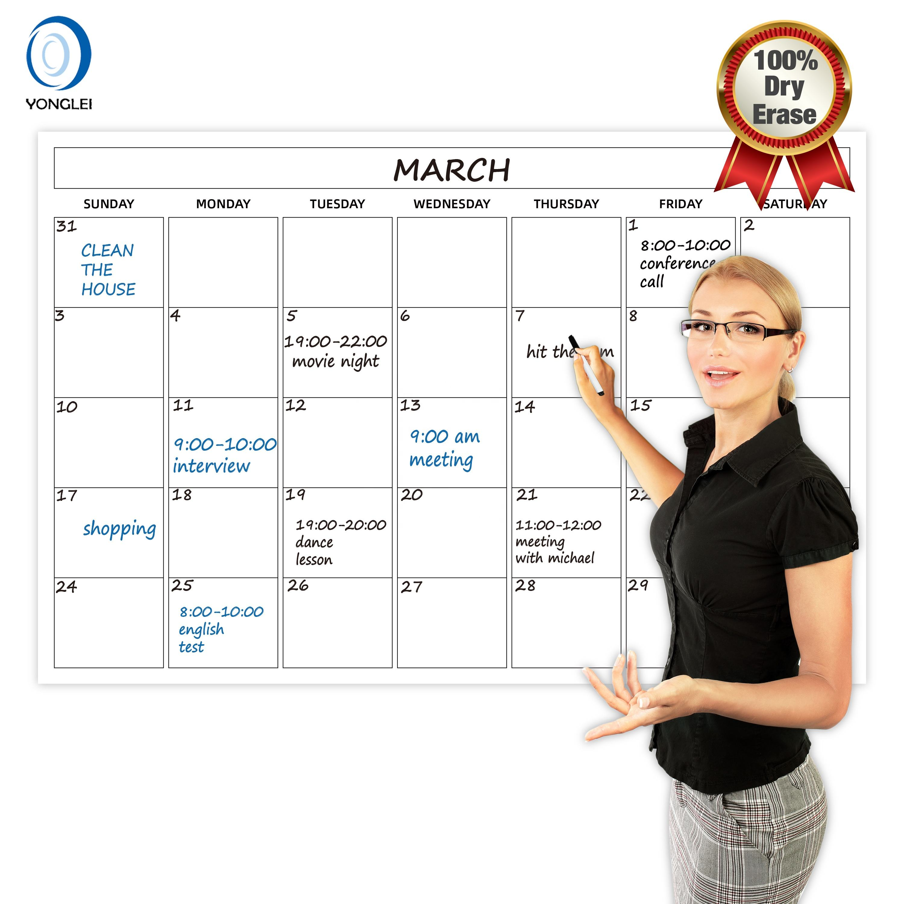 024-4A2 Nanotechnology dry erase reusable calendar custom office calendar 36x24 wall calendar