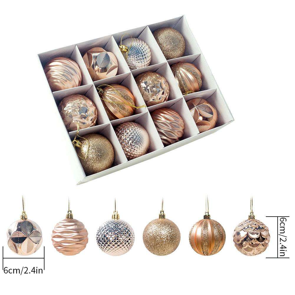 12pcs/box 6cm Christmas Tree Decor Ball Bauble Xmas Party Hanging Ball Ornament Shatterproof For Home Christmas Decorations Gift
