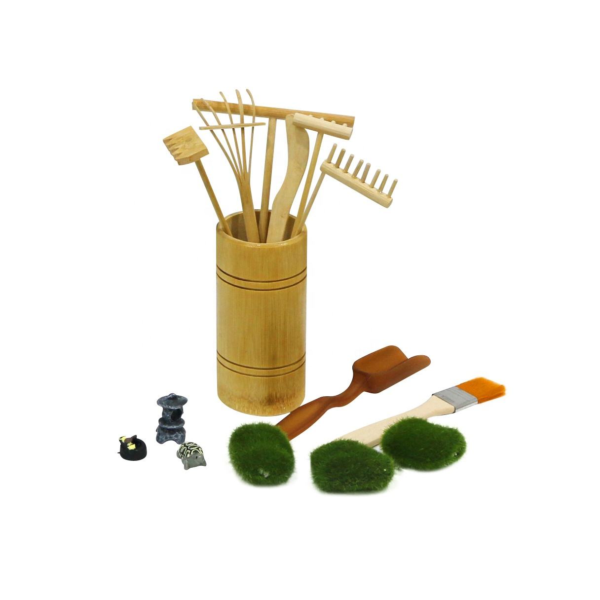 Mini Zen Garden Rake Tool Accessories Tabletop Meditation Rock Sand Garden Kits with Moss Rakes Brusher Spoon Figurines Holder