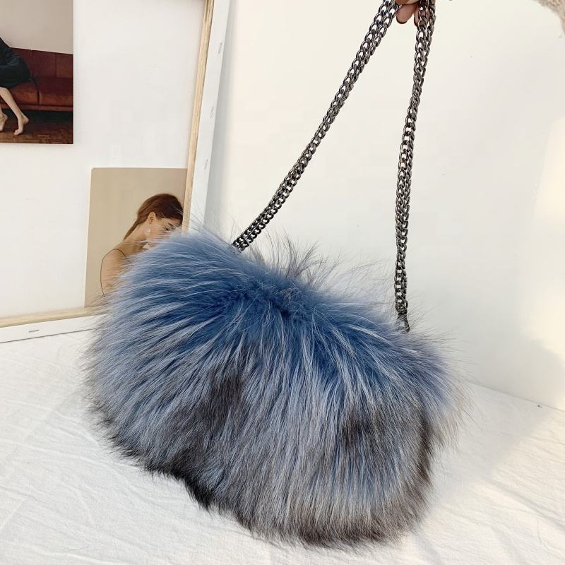 Newest Simple Whole Leather Fox Fur Hand Warmer Newest Simple Ladies Bag
