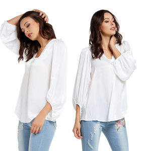 Lover Beauty Herfst En Winter Nieuwe Mode Dames T-shirt V-hals Lantaarn Mouwen Chiffon Shirt Vrouwen Tops