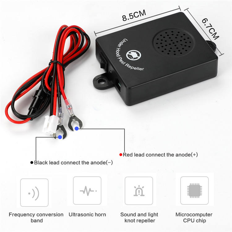 Eco Friendly Fireproofing Abs Material 12V Electronic Car Ultrasonic Mouse Pest Repeller
