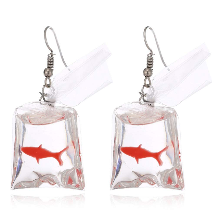 Unique Statement Funny Design Goldfish Fish in Bag Drop Dangle Resin Acrylic Earrings