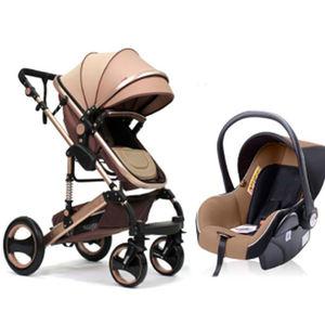 Paisaje de alta cochecito de bebé 3 en 1 mamá caliente rosa Cochecito de lujo asiento del recorrido del cochecito de bebé del portador de transporte