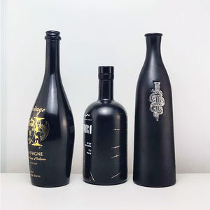 RSG Flint Oval Shape Vodka Rum 250ml 500ml Tequila Frost Glossy Matte Coated 750ml Black Glass Liquor Bottle whisky round