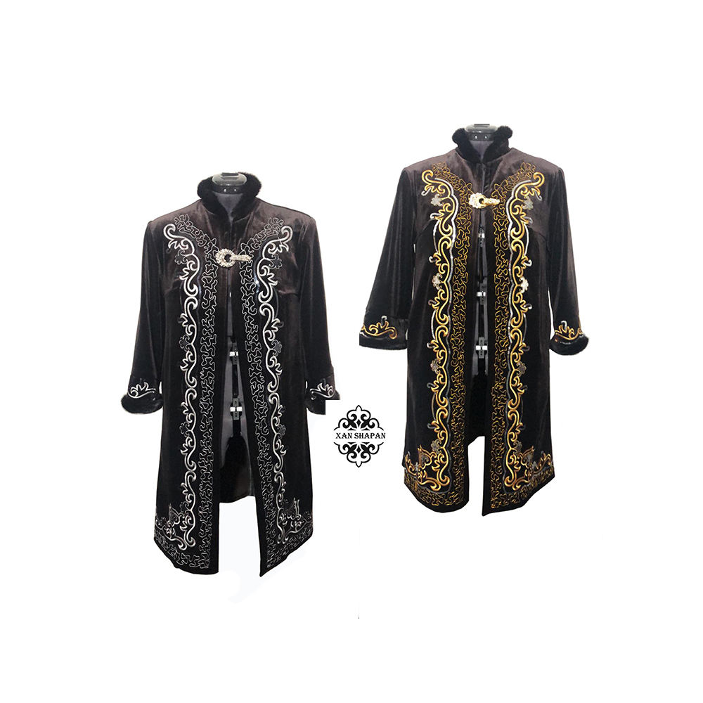 Kazakh Women Beshmet Velvet Outer Wear Clothing