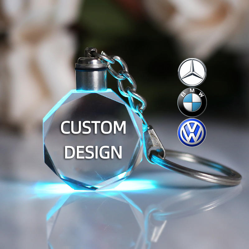 Custom Promotional Gift 3D Laser Engraving Led Light Keychain Car Logo Led Crystal Keychain