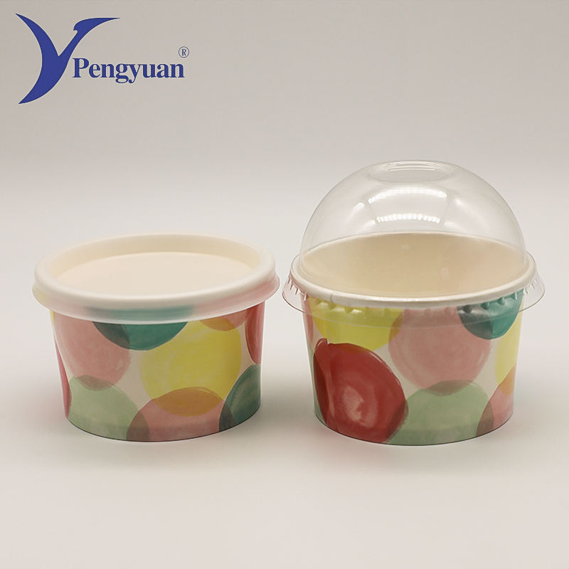 Custom printed 8 oz ice cream paper cups with lids
