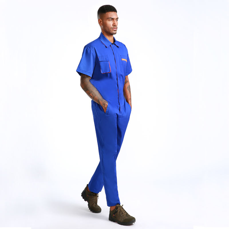 High quality 35% cotton 65% polyester twill short sleeve mechanic work overalls