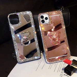 Luxury Mirror Case For iPhone 12 Pro Max Glitter Diamond Cover Case For iPhone 11 XS XR Xs Max 8plus Ring Stand Finger Holder