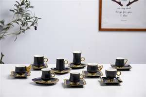 New arrival 95CC custom color matte black glazed ceramic turkish coffee cups new bone China coffee set 6 cup and saucer