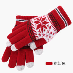 Unisex Winter Warm Fleece Inside Screen Touch Texting Jacquard Knit Gloves