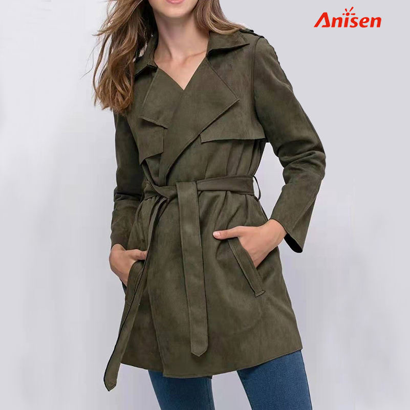 Leather Women Luxury Quality Jacket Coat Suede New Arrival Spring Long Trench Coats for Ladies