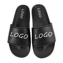 Custom Made design PU Slides, OEM logo blank Sandals Sliders Personalized Slippers for Men, 3d design black men slipper
