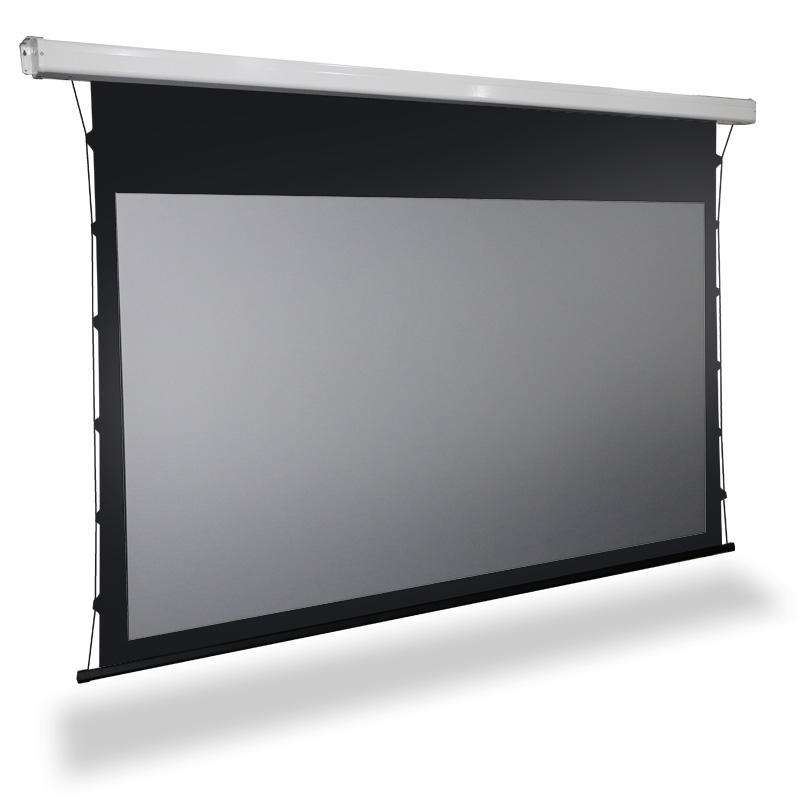 Tab tension intelligent ceiling pull down motorized projection screen with ALR Fabric Black Crystal/Diamond