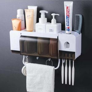 2020 Multifunction Super Sticky Wall Mount Automatic Toilet Bathroom Toothpaste Dispenser Toothbrush Holder Set with Towel Rack