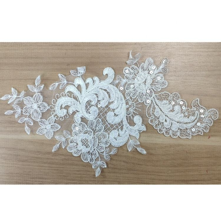 Classical design french bridal popular sequins chenille patch embroidery applique for wedding party dress