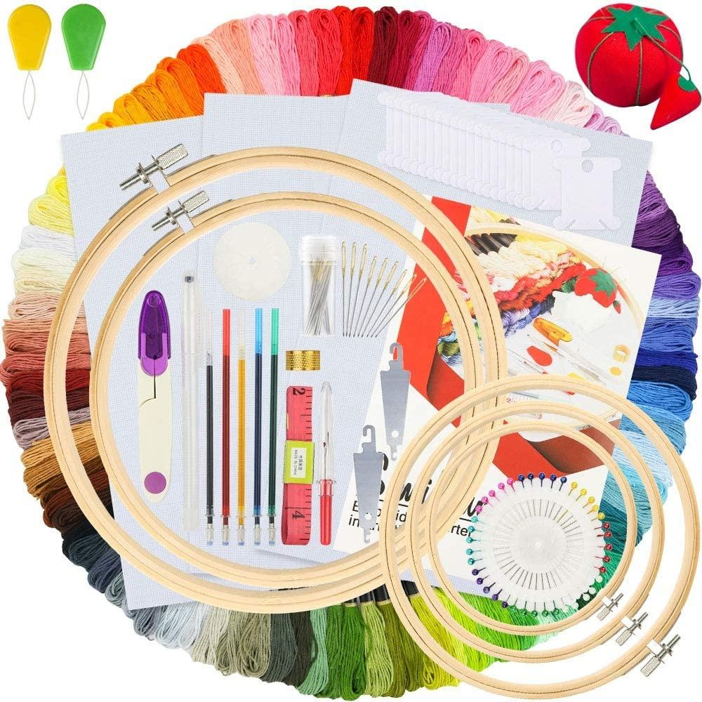 215 PCS DIY Embroidery Starter Kit Bamboo Embroidery Hoops Cross Stitch Tool Kits for Beginners