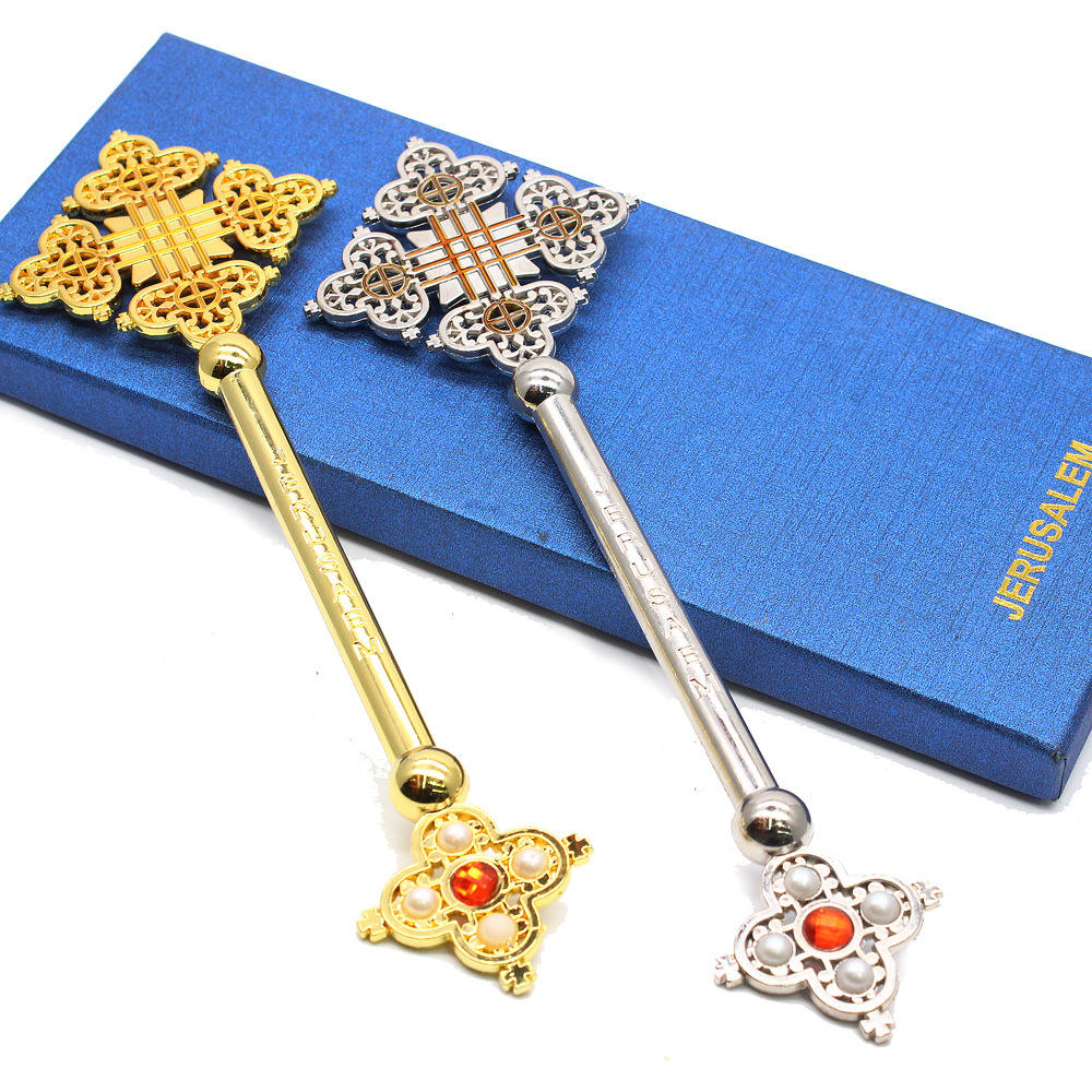Factory directly selling Hot Sale Metal with Box Religious Prayer Coptic & Ethiopian Style Hand hold Cross