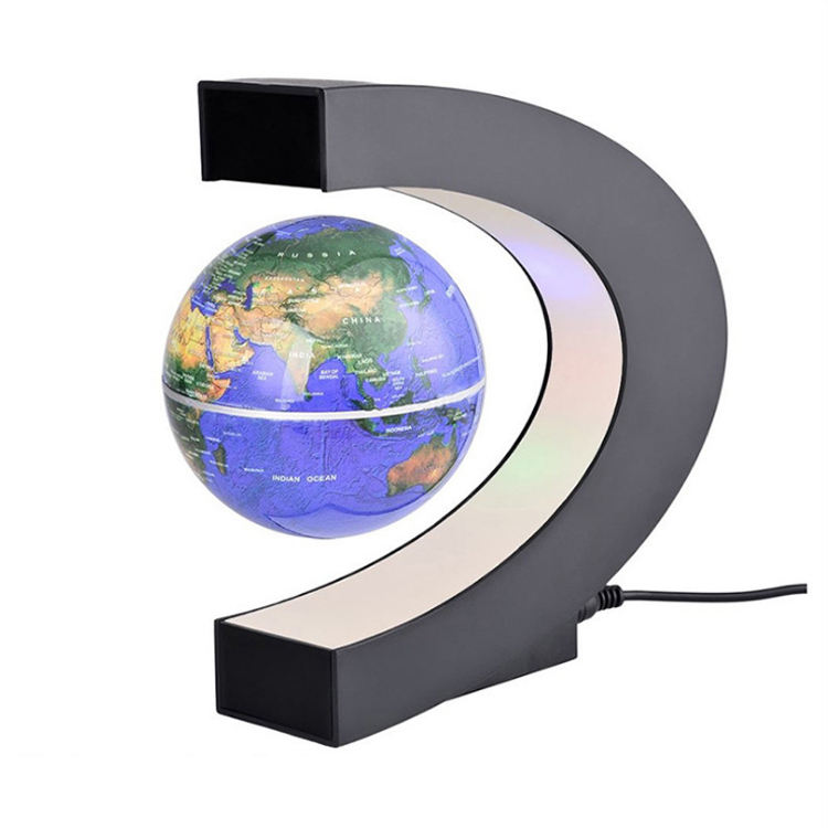 C Shape Home Decor Magnetic Rotating Levitation Floating Globe With Light US EU AU UK Plug