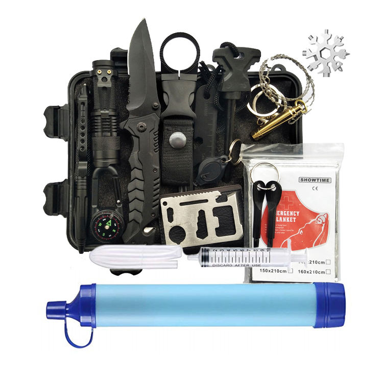 Outdoor Survival Kit Camping Set With Water Filter Straw, Emergency Survival Kit (ISO approved)