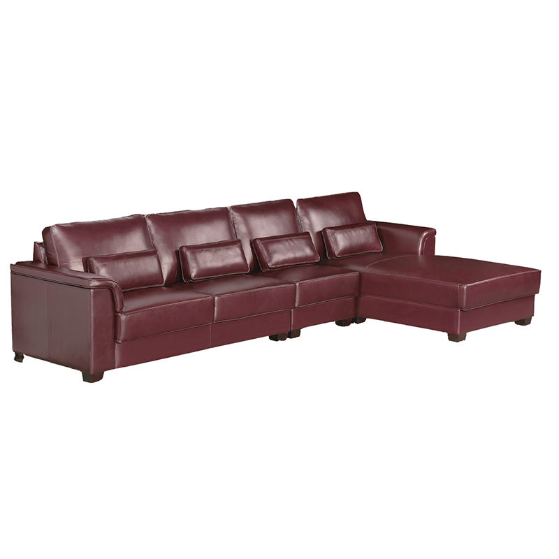 Living Room Leather Upholstery Sectional Corner Sofa with Chaise Lounge