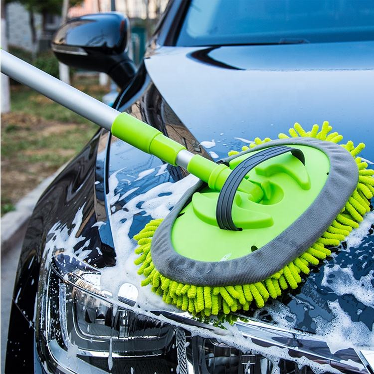 Car wash mop with telescopic handle an hose clamps