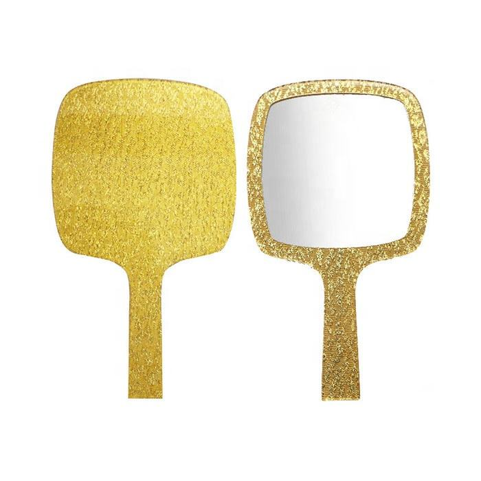 High Quality Luxury Style Beauty Salon Use Custom Logo Plastic Acrylic Gold Sliver Hand Held Mirror