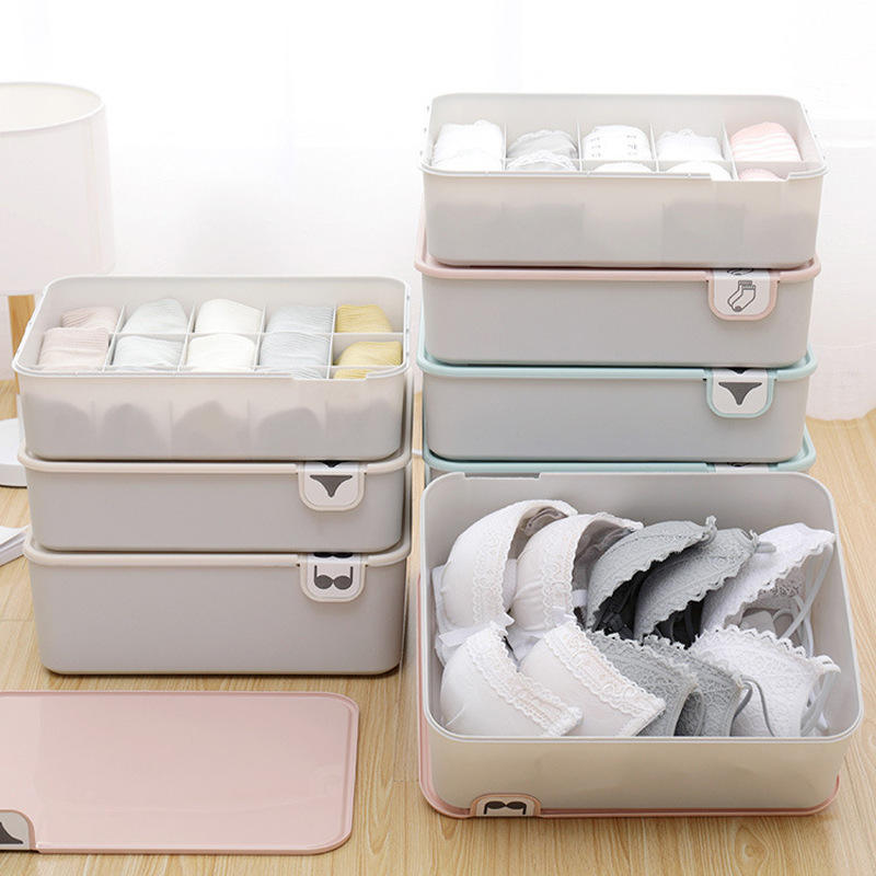 Household underwear storage box with logo cover bra box socks and underwear compartment underwear storage