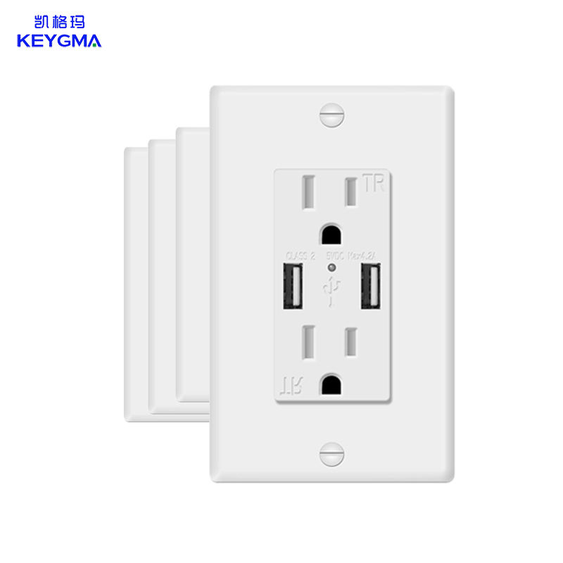 retractable electrical socket wall usb outlet 125v 15a enchufe de pared con usb