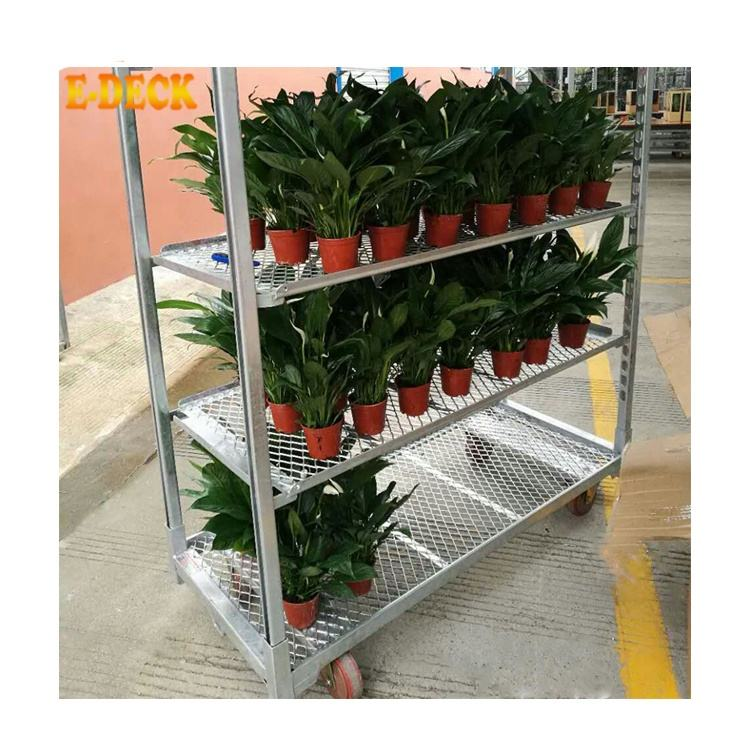 Newest Design Heavy Duty Utility Rolling Galvanized Metal Greenhouse Flower Plant Transport Trolley Cart