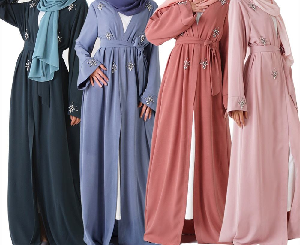 Eid Al Adha Handwork Highlight Crystal Solid Color Polyester Muslim Islamic Clothes Robe Dubai Front Open Abaya