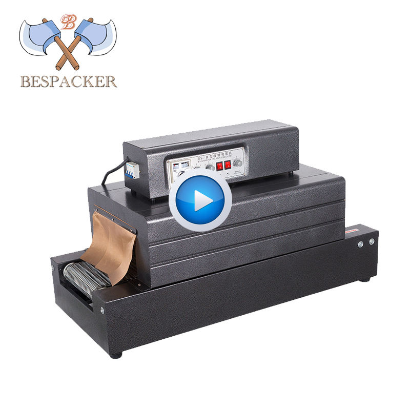 Bespacker BS400 plastic film shrink flow wrapping machine heat shrink tunnel packing machine with chain conveyor